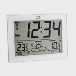 Station Météo et horloge à gros chiffres Cadre Blanc