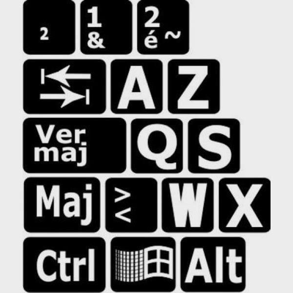 Autocollants lettres Majuscules clavier francais pour PC