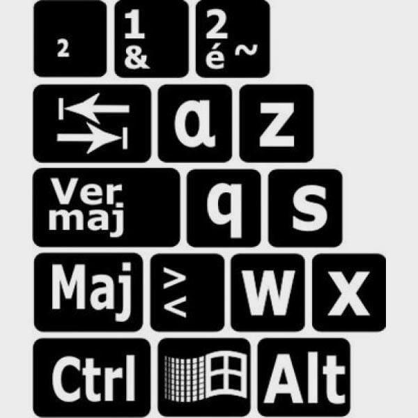 Autocollants lettres minuscule clavier francais pour PC