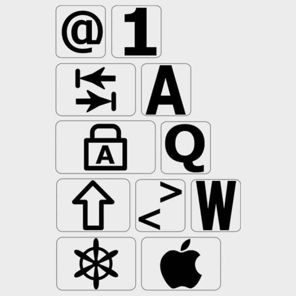 Autocollants lettres Majuscules clavier francais pour MAC
