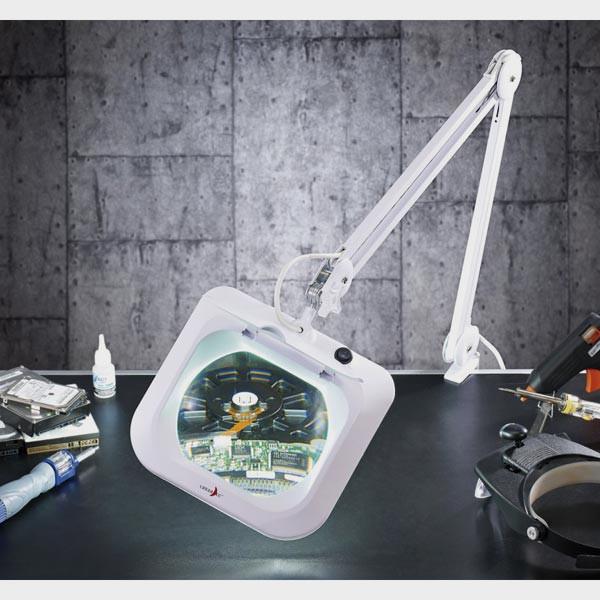 Lampe loupe LED à bras articulé lentille XXL