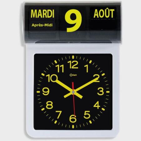 Horloge calendrier jaune sur fond noir
