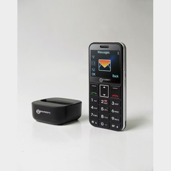 Téléphone portable amplifié avec clavier parlant avec socle