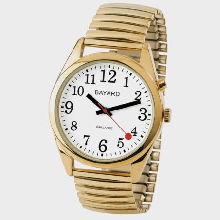 Montre parlante gros chiffres bracelet or