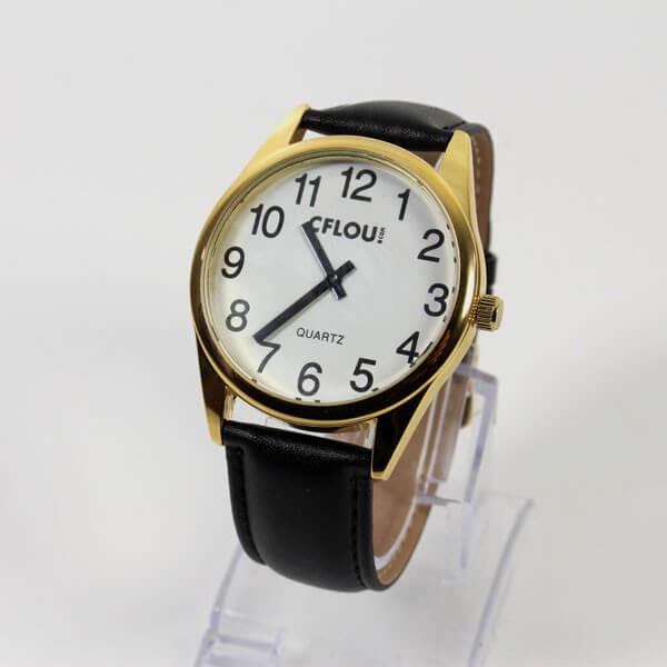 Montre XL gros chiffres bracelet cuir