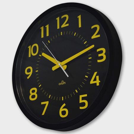 Horloge silencieuse 40cm à gros chiffres jaune pour malvoyant
