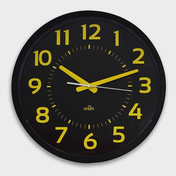 Horloge silencieuse 40cm à gros chiffres jaune