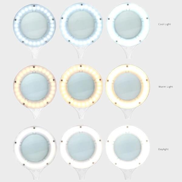 9 possibilités de réglage de couleur et d'intensité