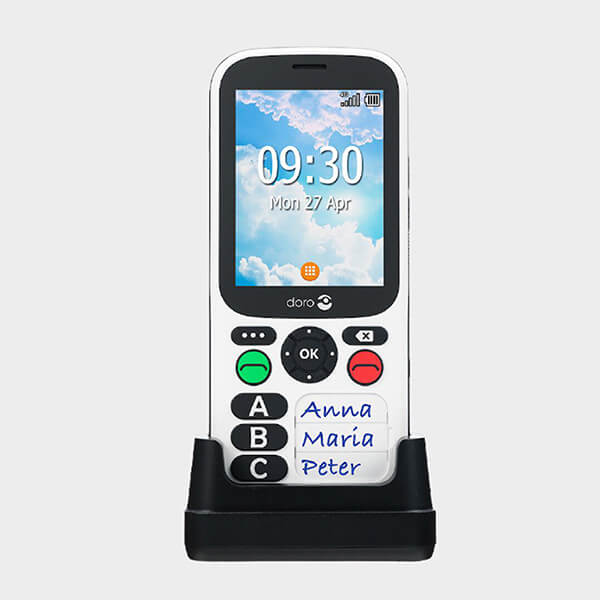 Téléphone à 3 grosses touches doro avec socle vue de coté