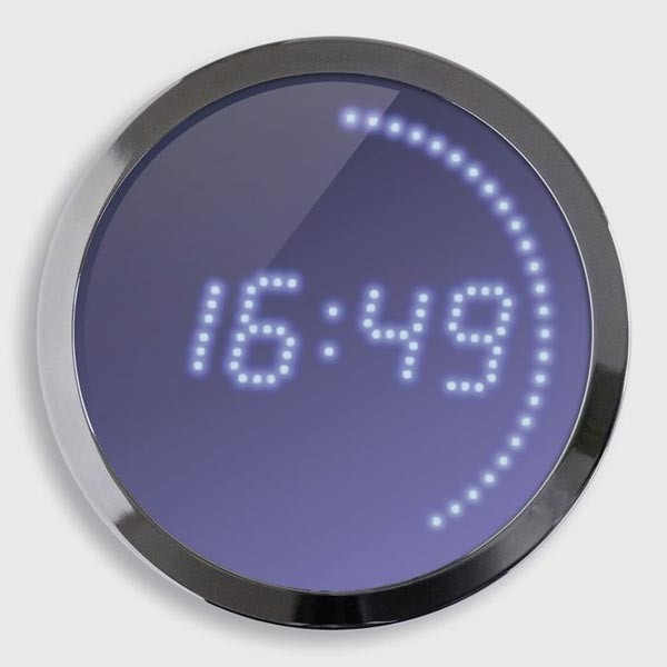 horloge leds bleu 30cm cflou. Black Bedroom Furniture Sets. Home Design Ideas