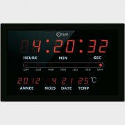 Horloge calendrier à LED rouge