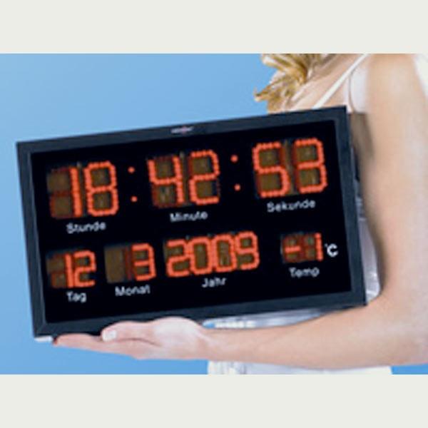 Horloge murale led avec calendrier et temp rature for Calendrier electronique mural francais